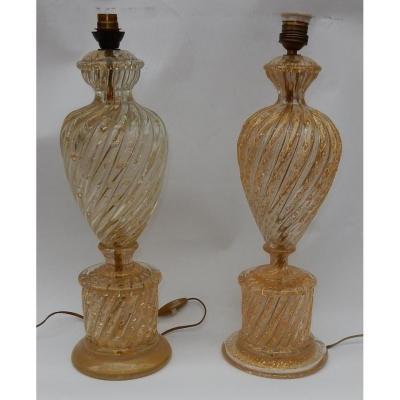 1950/70 Paire De Lampes Barovier & Toso Avec Paillons D'or