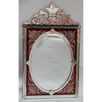 1880/1900 ′ Rectangular Venice Mirror With Pediment With Glass Frame Decorated With Enameled Flowers