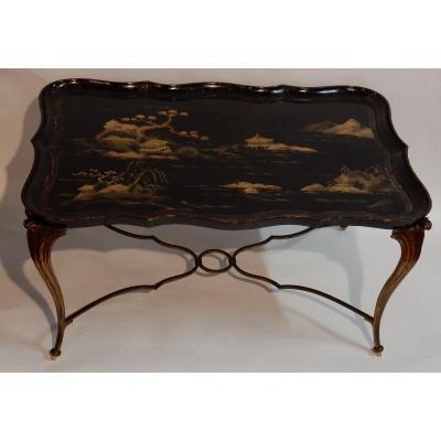 1940/50 Table Basse Plateau Laque De Chine Maison Baguès En Bronze