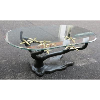 1950/70 Bonzaï Coffee Table On Sand Dune In Gilt Bronze And Patinated Daro Or Duval Brasseur
