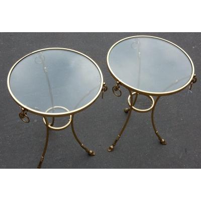 1970/80 'pair Of Gilt Bronze Gueridons Maison Charles It Style Diam 60