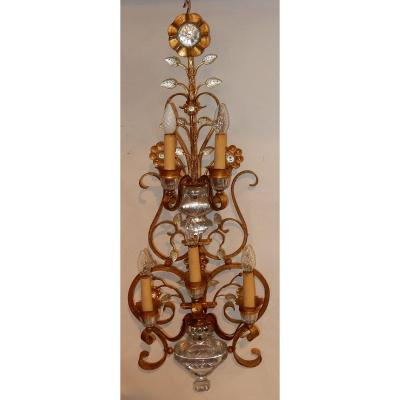 1970′ Applique Style Maison Baguès Ou Banci 5 Lampes H 104 Cm
