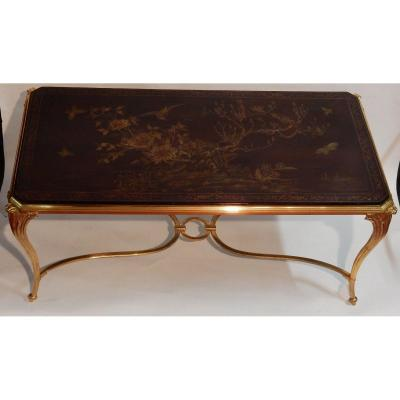 1940/50 Coffee Table Lacquer Tray From China Maison Baguès In Gilt Bronze