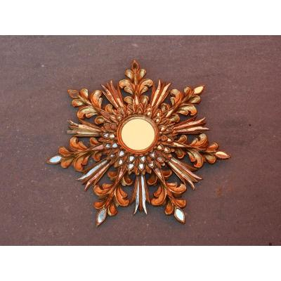 1970 ′ Sun Mirror Decor Snowflake, Golden Wood, Diameter 72 Cm