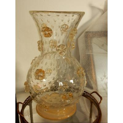 1950′ Vase Cristal Murano Style Barovier & Toso Avec Paillons D'or Non Signé