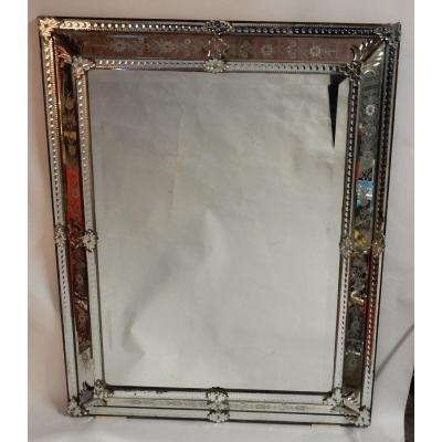 1850 'lxiv Style Venetian Mirror Floral Decor - 125 X 99 Cm
