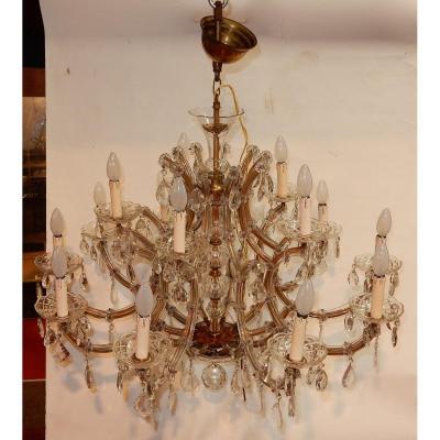 1950′ Lustre Cage En Cristal De Bohême – 10 Bras 15 Lampes