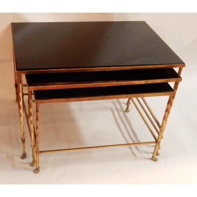1970′ Série De Tables Gigognes Maison Baguès Modèle Bambou, 3 Plateaux Opaline Noire -67x46x45
