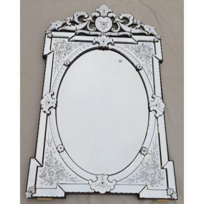 1880/1900 ′ Venice Mirror Napoleon III With Openwork Fronton 143 Hx 83 Cm