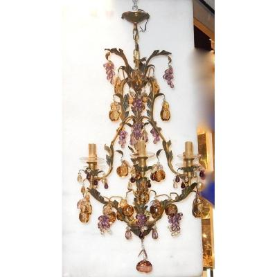 1970 ′ Cage Chandelier In Golden Brass Style Maison Baguès Leaves And Fruits In Colored Glass