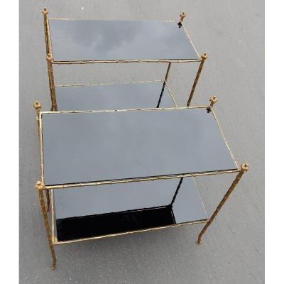 1970′ Paire De Tables Montants Palmiers En Bronze Doré Style Maison Charles 74 X 38 X H68 Cm