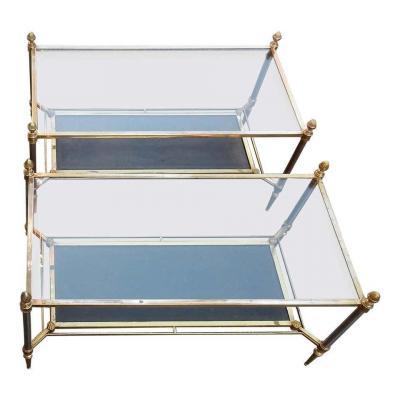 1950/70' Paire De Tables Basses – Maison Jansen – Cuir – 93 X 48 X H 49 Cm