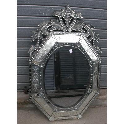 Miroir Vénitien Octogonal Et Ovale 84 X130 Cm