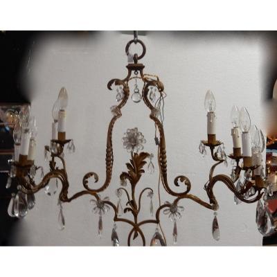 1950/70′ Lustre En Métal Doré 10 Ampoules Décor De Fleurs Style Maison Baguès