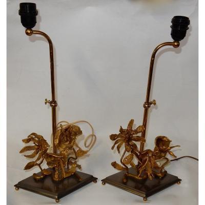 1950/70 Paire De Lampes Aux Orchidées En Bronze Argenté Et Doré Dlg Maison Charles Ou Jansen