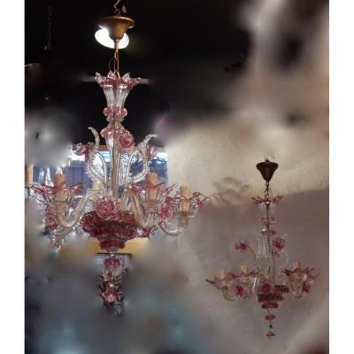 1950/70 Paire De Lustres Murano 5 Bras Cristal Naturel Et Cristal Couleur Rose