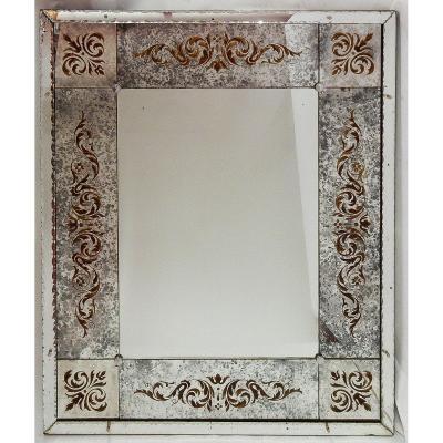 1970′ Miroir Venise Oxydé Vieilli A Décors Eglomisés 120 X 100 Cm