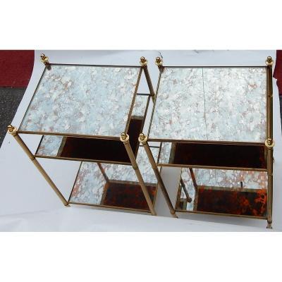 1950/70′ Paire D'Étagères En Laiton à 3 Niveaux Maison Baguès Plateaux Miroirs Vieillis Oxydés