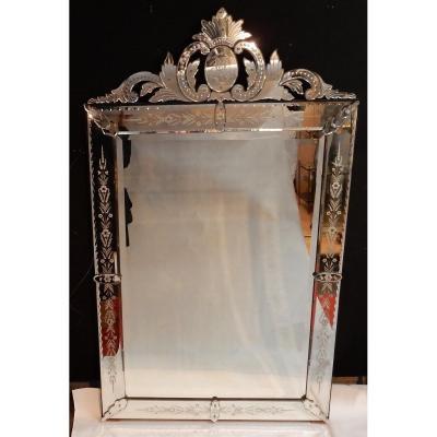 1900' Miroir Vénitien à Décor Floral Et Fronton – 173 X 101 Cm