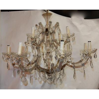 1950′ Lustre Cage En Cristal De Bohême 12 Lampes