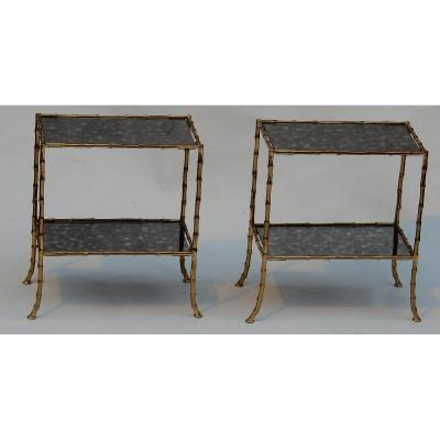 1950/70′ Paire De Tables En Bronze Doré à 2 Niveaux Baguès Plateaux Miroirs Oxydés 38 X 21 Cm