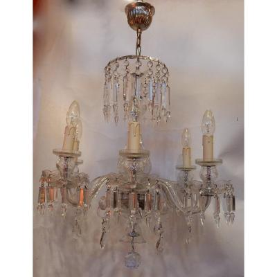 1950′ Lustre En Cristal De Bohême Ou Baccarat 6 Bras