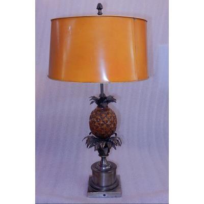 1950/70 Lampe à L'ananas En Bronze Argenté, Abat-jour En Métal, Signée Charles, Made In France