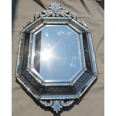 1880′ Miroir Octogonal à Fronton Napoléon Ill