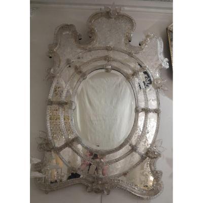 1950′ Miroir Murano Centre Ovale Biseauté