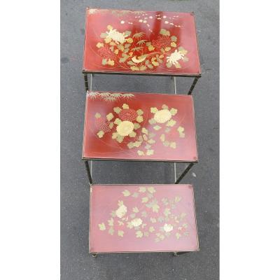 1970' Tables Gigognes Dlg Maison Jansen Déco Bambou En Bronze Doré Plateaux Avec Laque De Chine