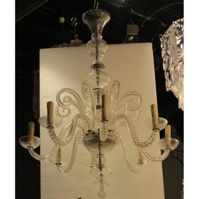 1900/20′ Lustre Cristal 8 Bras Et 8 Crosses