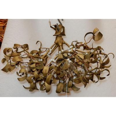 1900' Lustre Boule De Gui En Bronze Art Nouveau à 5 Lampes Diamètre 45 Cm