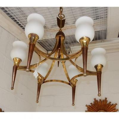 1950′ Lustre Bronze Et Laiton Avec Flèche Style Arbus Ou Maison Jansen 6 Lampes