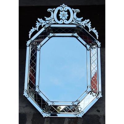 1880/1900 Miroir Style Louis XIV à L'Étoile à 5 Branches 134 X 89 Cm