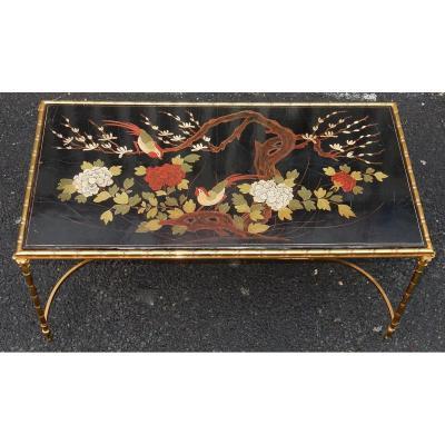 1950/70′ Table Basse Bronze Décor Palmier, Plateau Laque De Chine Style Maison Baguès