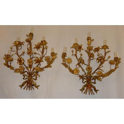 1880′ Paire D'appliques En Bronze Doré à Décor Floral 5 Bras De Lumière
