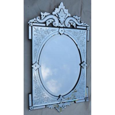 1900′ Miroir Vénitien à Cartouches, Ovale Biseauté