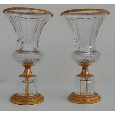 1970′ Paire De Vases Medicis Cristal Et Bronze Doré