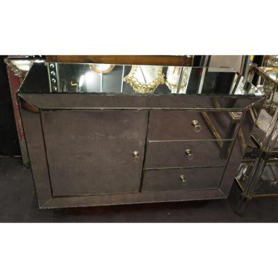 1950′ Buffet Miroir Art Déco 1 Porte 3 Tiroirs