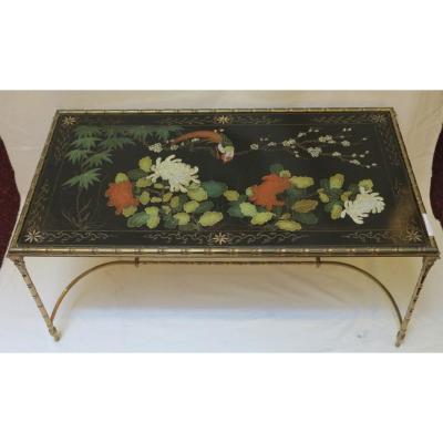 1970′ Table Basse Style Baguès Laque De Chine 95 X 50 X H 44 Cm