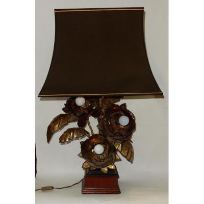 1970 ′ Metal Anemone Lamp Maison Jansen Style 3 Heads Baroque Style