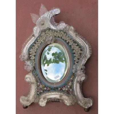 Miroir Vénitien Avec Micromosaïque En Pierres Dures Décor De Fleurs