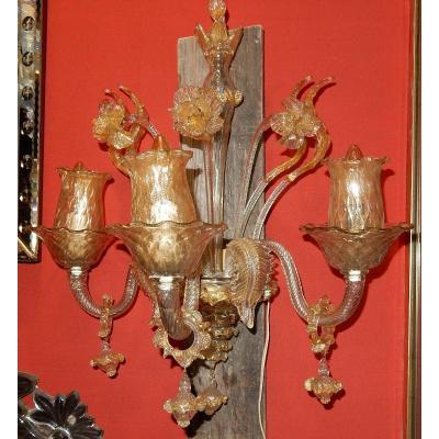1950/70' Paire d'Appliques à 3 Bras De Lumière En Cristal De Murano Avec Paillons d'Or 58 X50cm