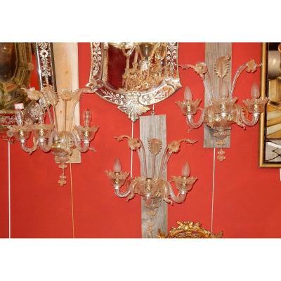 1950/70 'suite Of 3 Wall Lights With 3 Arms Of Light In Murano Crystal With Gold Paillons