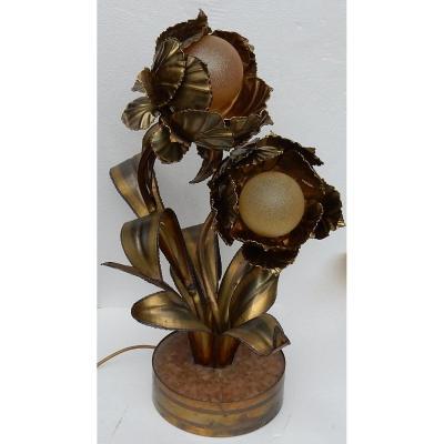 1970 ′ Lighting Plant In Brass Maison Jansen 2 Heads H 64 Cm