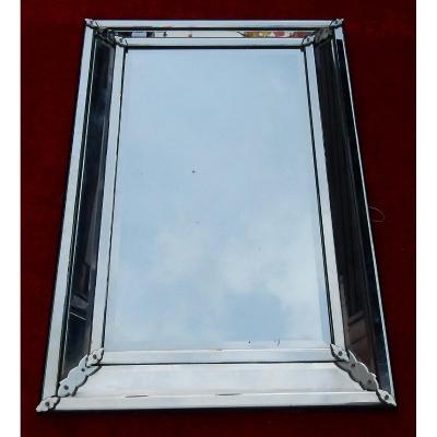 1950 'venice Mirror With Rectangular Parecloses Very Sober 137 X 90 Cm