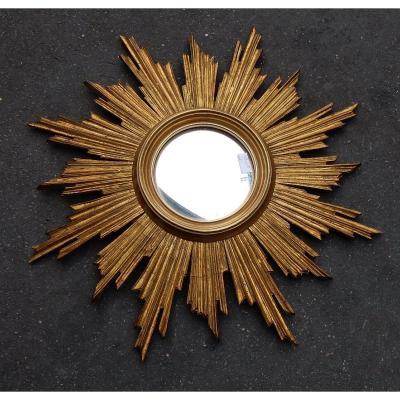 1950 ′ Convex Sun Mirror, Golden Wood 70 Cm