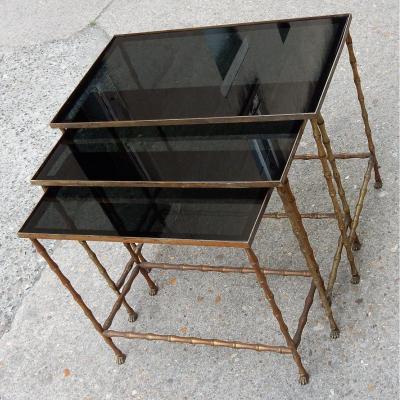 1950/70′ Série De 3 Tables Gigognes Modèle Bambou Avec Pieds Griffes Maison Baguès