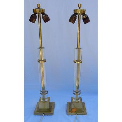 1970 ′ Pair Of Lamps In Altuglas And Golden Brass Decor Columns With 5 Petals