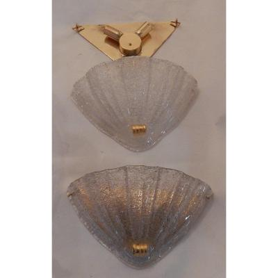1970 ′ Pair Of Murano Crystal Sconces